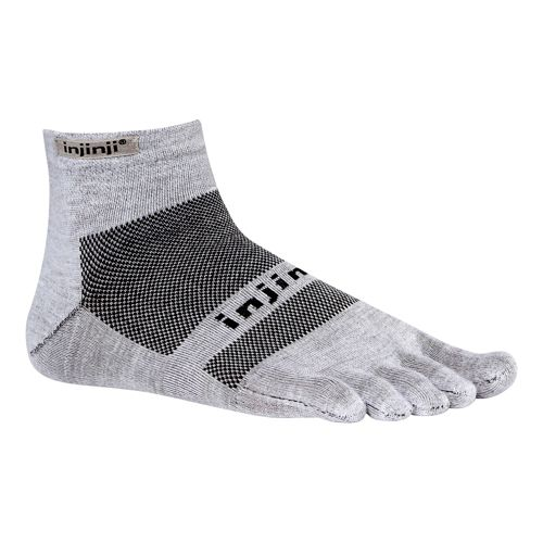 Injinji Footwear RUN Lightweight Mini Crew Socks - White L