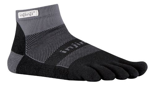 Injinji Footwear RUN Midweight Mini Crew CoolMax Socks - Black/Grey L