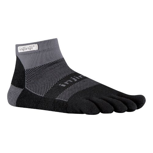 Injinji Footwear RUN Midweight Mini Crew Socks - Black/Grey M