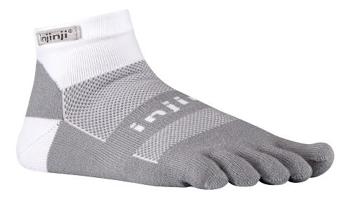 Injinji Footwear RUN Midweight Mini Crew CoolMax Socks - White/Grey M