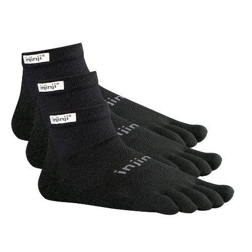 Injinji Footwear RUN Lightweight Mini Crew 3 pack Socks - Black M