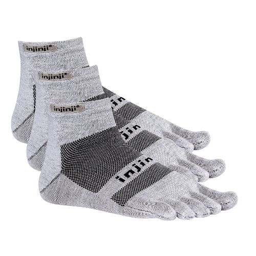 Injinji Footwear RUN Lightweight Mini Crew 3 pack Socks - Grey S