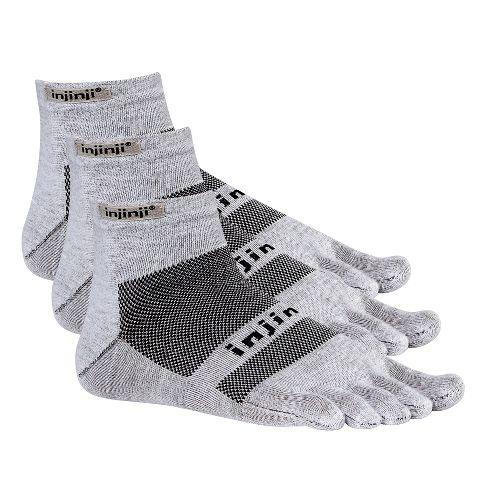 Injinji Footwear RUN Lightweight Mini Crew 3 pack Socks - Grey S