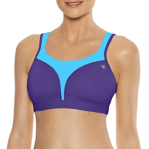 Womens Champion Spot Comfort Full Support Sports Bra - Dark Purple/Crystal Blue 34DD
