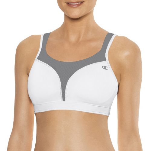Womens Champion Spot Comfort Full Support Sports Bra - White/Grey 40D