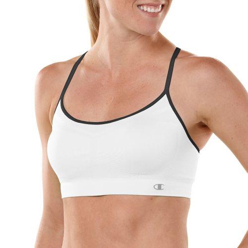 Womens Champion Criss Cross Cami Sports Bra - White/Black XL