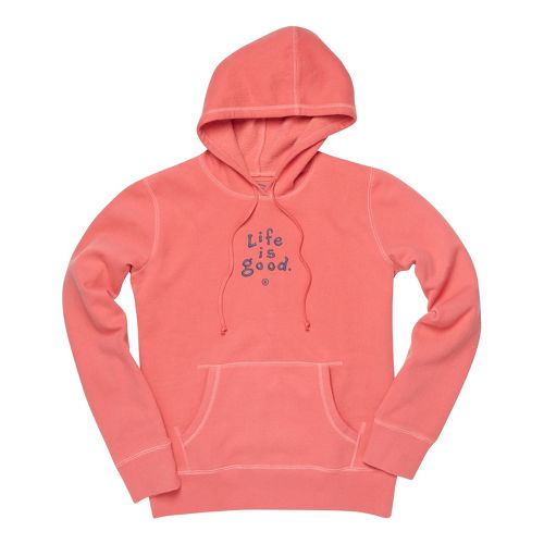 Womens Life Is Good Softwash Hoodie Warm-Up Hooded Jackets - Sunset Coral M