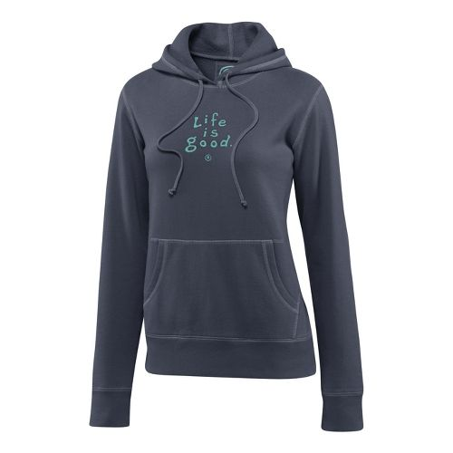 Womens Life Is Good Softwash Hoodie Warm-Up Hooded Jackets - True Blue L