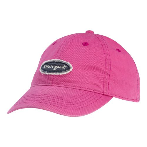 Womens Life Is Good LIG Tattered Oval Chill Cap Headwear - Hot Fuchsia