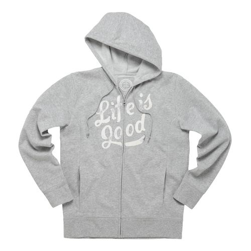 Womens Life Is Good Go-to Zip Hoodie Warm-Up Hooded Jackets - Light Heather Grey XL ...