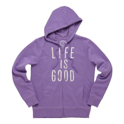 Womens Life Is Good Go-to Zip Hoodie Warm-Up Hooded Jackets - Soft Purple L