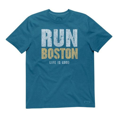 Mens Life Is Good Crusher Run Boston Short Sleeve Non-Technical Tops - Pacific Blue S ...