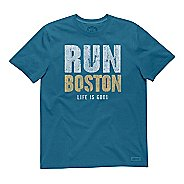 Mens Life Is Good Crusher Run Boston Short Sleeve Non-Technical Tops