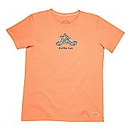 Womens Life Is Good Crusher Gotta Run Short Sleeve Non-Technical Tops