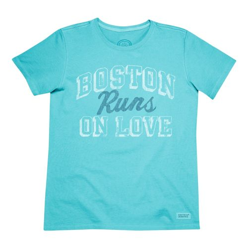 Womens Life Is Good Crusher Boston Runs on Love Short Sleeve Non-Technical Tops - Surfer ...