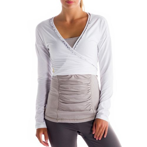 Womens Lole Sukha Cardigan Warm-Up Unhooded Jackets - White XL