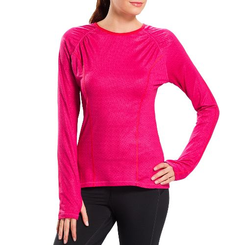 Womens Lole Lovely Long Sleeve No Zip Technical Tops - Shocking Pink Yurt L