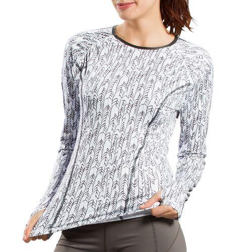 Womens Lole Lovely Long Sleeve No Zip Technical Tops - White Mini Weave L