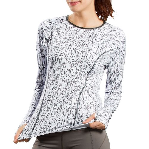 Womens Lole Lovely Long Sleeve No Zip Technical Tops - White Mini Weave M