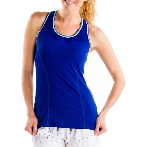 Womens Lole Central 2 Tank Sport Top Bras - Solidate Blue S