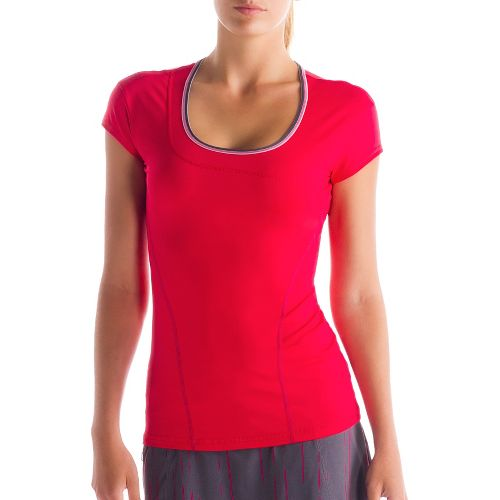 Womens Lole Cardio Short Sleeve Technical Tops - Pomegranate M