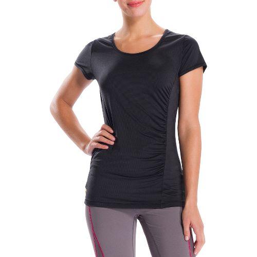 Womens Lole Curl Short Sleeve Technical Tops - Black/Dip Dye Stripe L