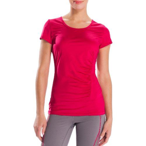 Womens Lole Curl Short Sleeve Technical Tops - Red Sea/Dip Dye Stripe XS