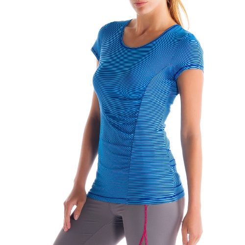 Womens Lole Curl Short Sleeve Technical Tops - Solidate Blue XS