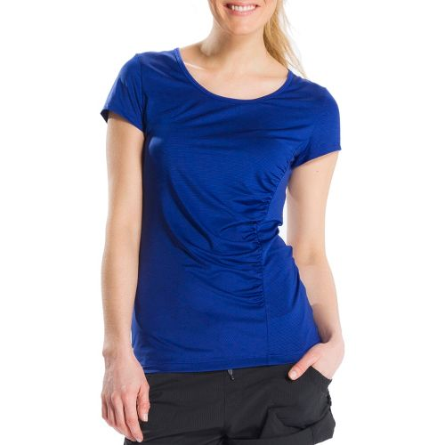Womens Lole Curl Short Sleeve Technical Tops - Solidate Blue/Dip Dye Stripe L