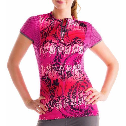 Womens Lole Keirin Short Sleeve Technical Tops - Guava/Anatolia Multi XS