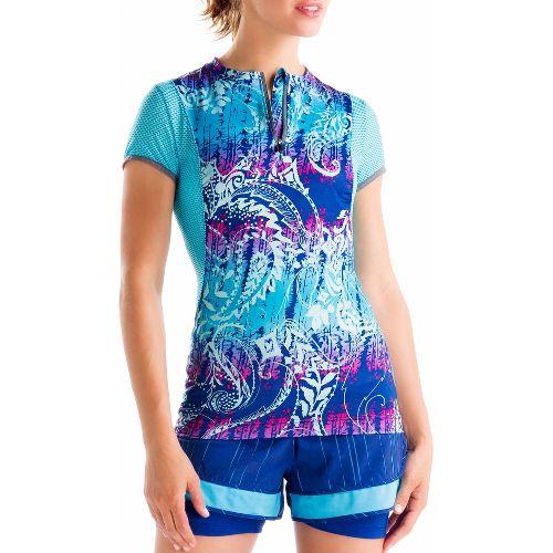 Womens Lole Keirin Short Sleeve Technical Tops - Solidate Blue/Anatolia Multi M
