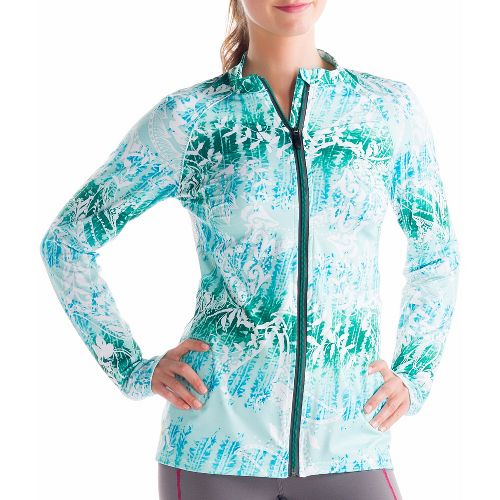 Womens Lole Talitha Cardigan Long Sleeve Full Zip Technical Tops - Clearly Aqua/Anatolia Multi ...
