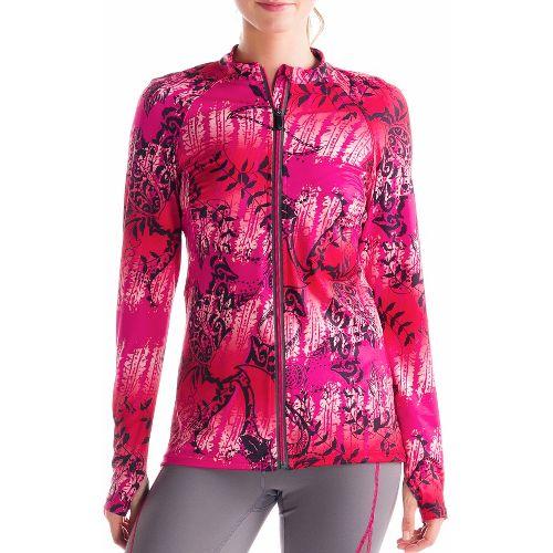 Womens Lole Talitha Cardigan Long Sleeve Full Zip Technical Tops - Guava/Anatolia Multi L