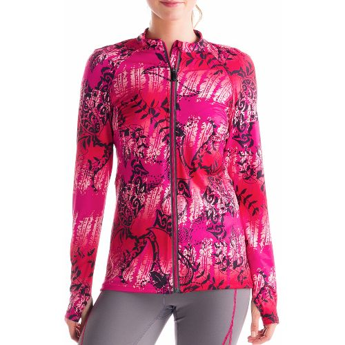 Womens Lole Talitha Cardigan Long Sleeve Full Zip Technical Tops - Guava/Anatolia Multi S