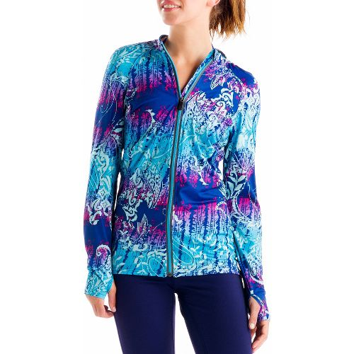 Womens Lole Talitha Cardigan Long Sleeve Full Zip Technical Tops - Solidate Blue/Anatolia Multi ...