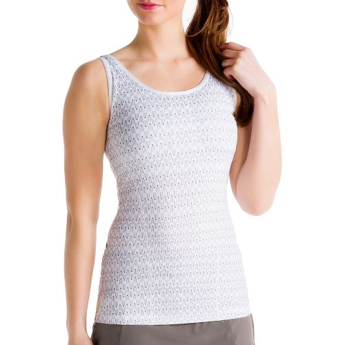 Womens Lole Silhouette Up 2 Tank Sport Top Bras - White L