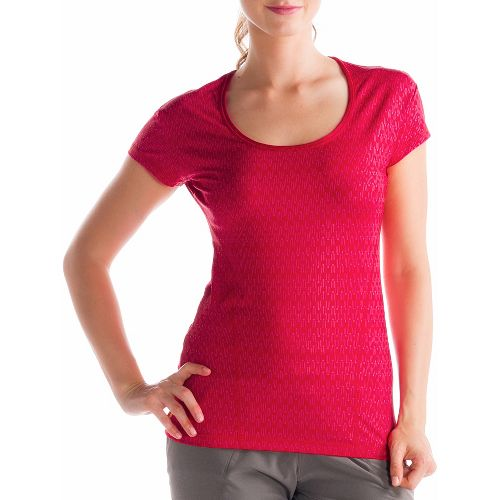 Womens Lole Cardio 2 Short Sleeve Technical Tops - Pomegranate L