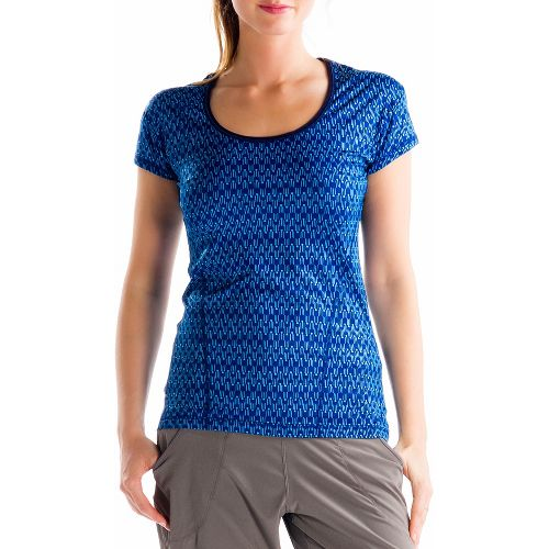 Womens Lole Cardio 2 Short Sleeve Technical Tops - Solidate Blue XS