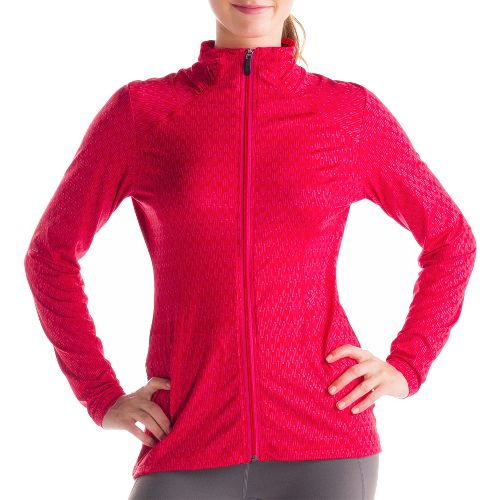Womens Lole Essential 2 Cardigan Running Jackets - Pomegranate XL