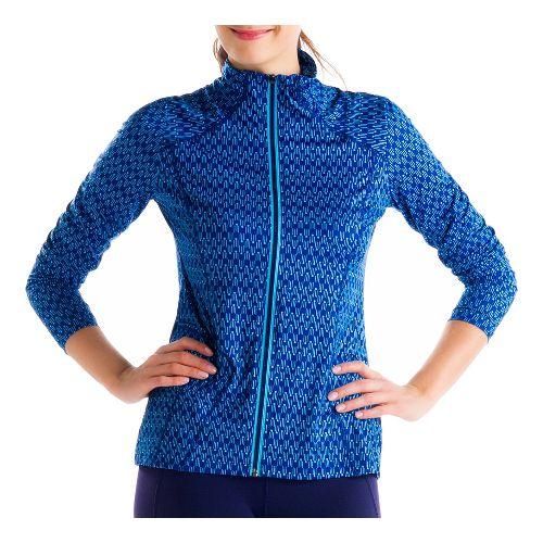 Womens Lole Essential 2 Cardigan Running Jackets - Solidate Blue L
