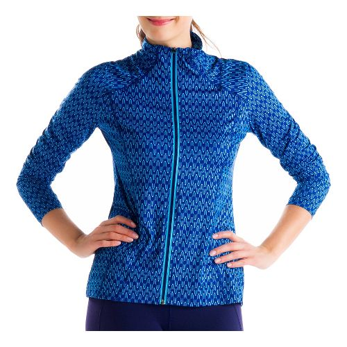 Womens Lole Essential 2 Cardigan Running Jackets - Solidate Blue XXS