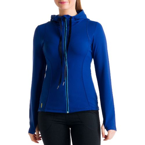 Womens Lole Studio Cardigan Running Jackets - Solidate Blue S