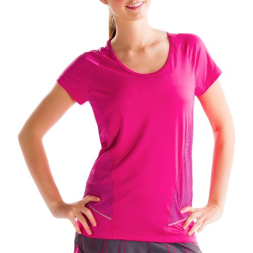 Womens Lole Marathon Short Sleeve Technical Tops - Guava M