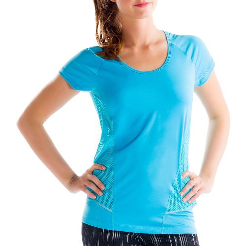 Womens Lole Marathon Short Sleeve Technical Tops - Lagoon Blue L