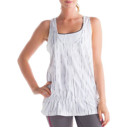 Womens Lole Jump-Up Tanks Technical Tops - White/Broken Stripe XL