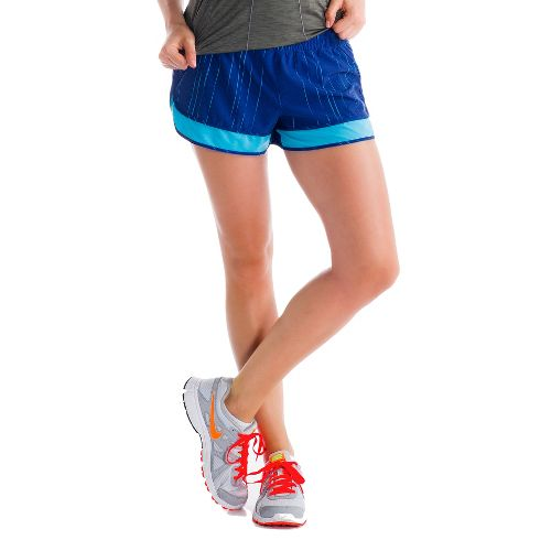 Womens Lole Step Lined Shorts - Solidate Blue/Broken Stripe L