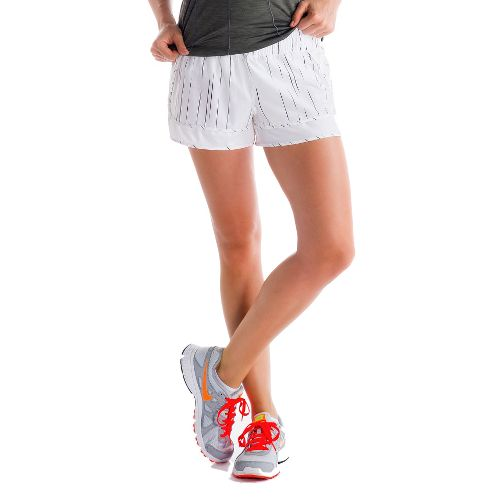 Womens Lole Step Lined Shorts - White/Broken Stripe XL