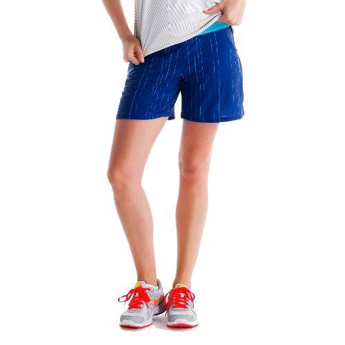 Womens Lole Movement Unlined Shorts - Solidate Blue/Broken Stripe L