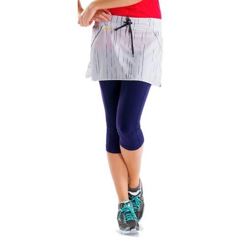 Womens Lole Speed Fitness Skirts - White/Broken Stripe L