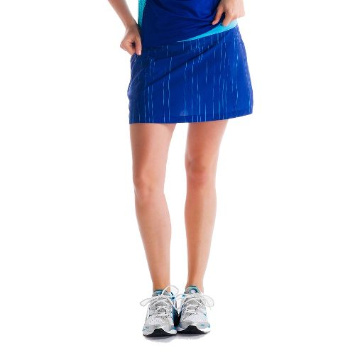 Womens Lole Sprint Skort Fitness Skirts - Solidate Blue/Broken Stripe XL